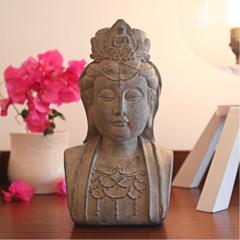 Stone Bust of Quan Yin Statuette, Handmade in Indonesia