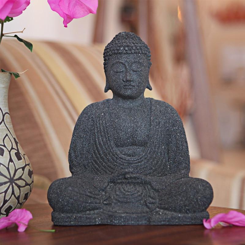 Stone Serene Buddha Statuette (Indonesia)