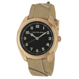 Calvin Klein Jeans Men's 'Impulse' Rose Goldplated Stainless Steel and Canvas Quartz Watch