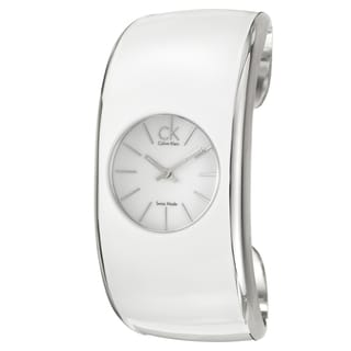 Calvin Klein Women's 'Gloss' Stainless Steel and White Enamel and Stainless Steel Quartz Watch