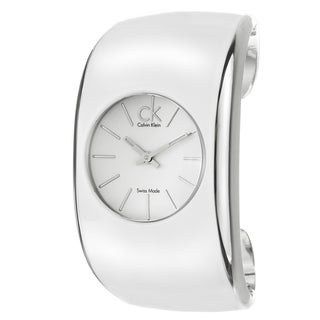 Polished Calvin Klein Women's 'Gloss' Stainless Steel and White Enamel Quartz Watch