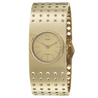 Calvin Klein Women's 'Grid' Yellow Goldplated Stainless Steel Quartz Watch