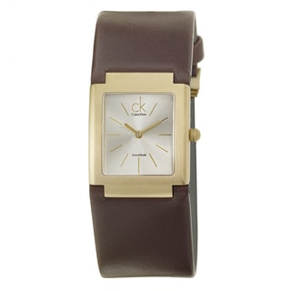 Calvin Klein Women's 'Dress' Yellow Goldplated Stainless-Steel and Leather Thin-Strap Quartz Watch