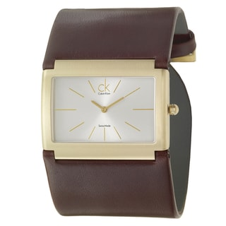 Calvin Klein Women's 'Dress' Yellow Goldplated Stainless Steel and Leather Quartz Watch