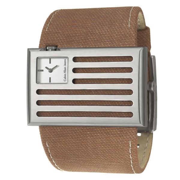 Calvin Klein Jeans Men's 'Banner' Stainless Steel and Canvas Quartz Watch