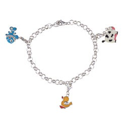 Sterling Silver Cow/ Chick/ Fish Charm Bracelet