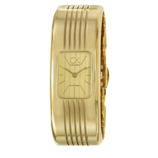 Calvin Klein Women's 'Fractal' Yellow Goldplated Stainless Steel Quartz Watch