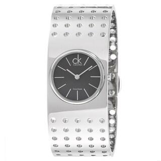 Calvin Klein Women's 'Grid' Stainless Steel Bezel Quartz Watch