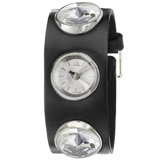 Calvin Klein Women's 'Night' Stainless Steel and Leather Quartz Watch