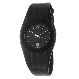 Calvin Klein Women's 'Logo' Black PVD-Coated Stainless Steel and Leather Quartz Watch