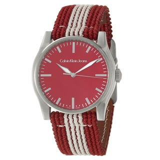Calvin Klein Jeans Men's 'Variance' Red Stainless-Steel and Canvas Quartz Watch