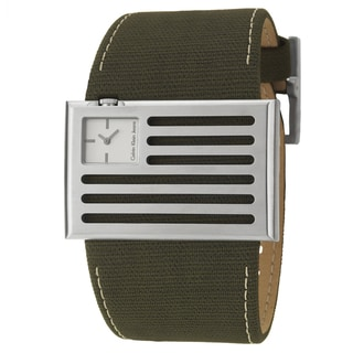 Calvin Klein Jeans Men's 'Banner' Stainless Steel and Olive-Green Canvas Quartz Watch