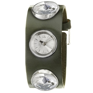 Calvin Klein Swiss Women's 'Night' Stainless Steel and Leather Quartz Watch