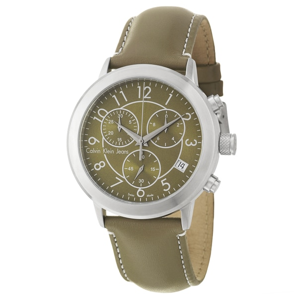 Calvin Klein Jeans Men's 'Continual' Stainless Steel and Leather Chronograph Quartz Watch