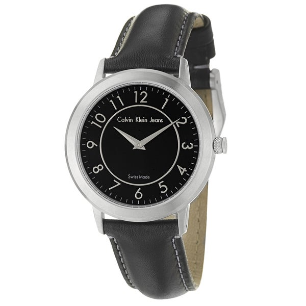 Calvin Klein Jeans Women's 'Continual' Stainless Steel and Black-leather Quartz Watch