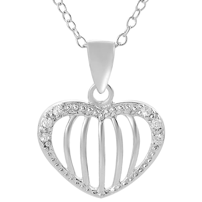 Journee Collection Sterling Silver Cubic Zirconia-accented Heart Necklace