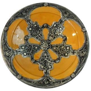 Majestique Ceramic-and-Metal Decorative Plate in Marigold (Morocco)