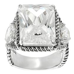 Silvertone Emerald and Round-cut Cubic Zirconia Rope-style Ring