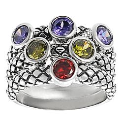 Journee Collection Silvertone Red, Green, and Purple Cubic Zirconia Tri-band Ring