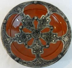 Imported Majestique Ceramic-and-Metal Decorative Plate (Morocco)