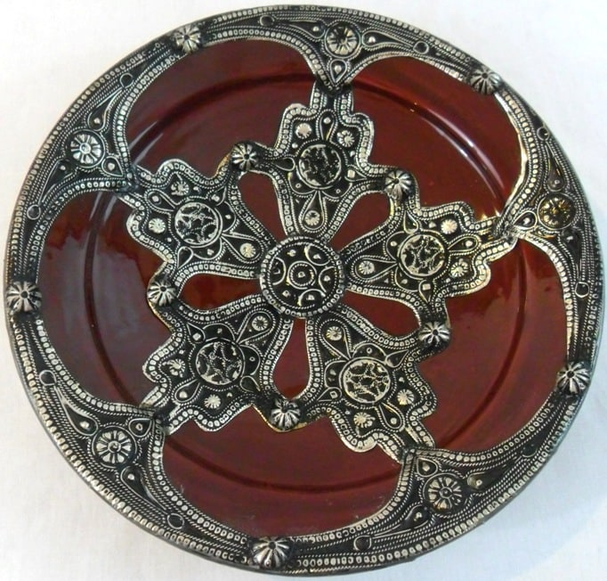 Majestique Ceramic and Metal Decorative Plate (Morocco)