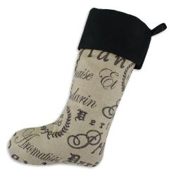 Tea House Black-andigo Lined Trimmed Holiday Stocking