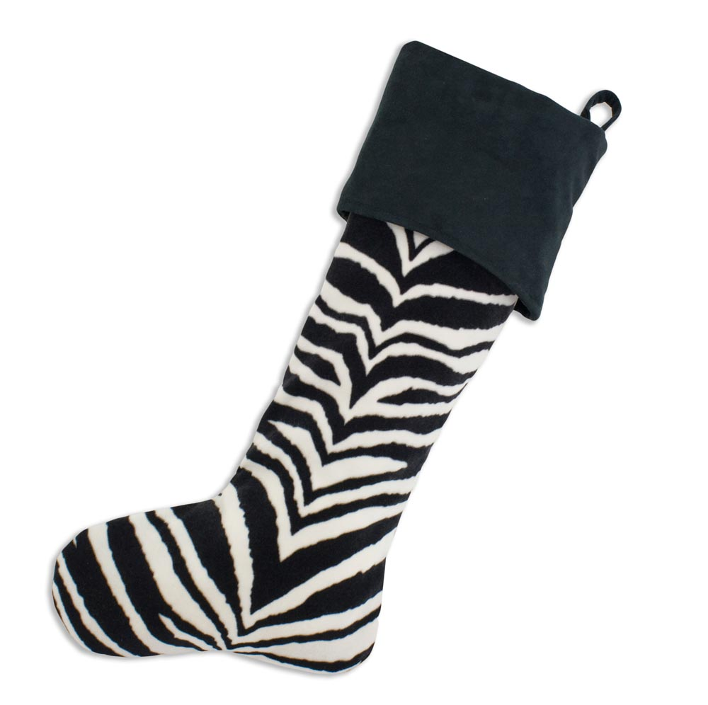 Zebra Black-charcoal Holiday Stocking