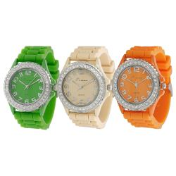 Tressa Women's Czech Rhinestone-Accented Silicone Watch