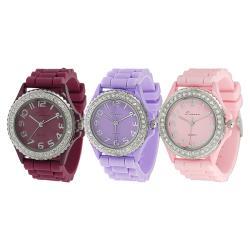 Tressa Women's Rhinestone-Accented Moisture-Resistant Silicone Watch