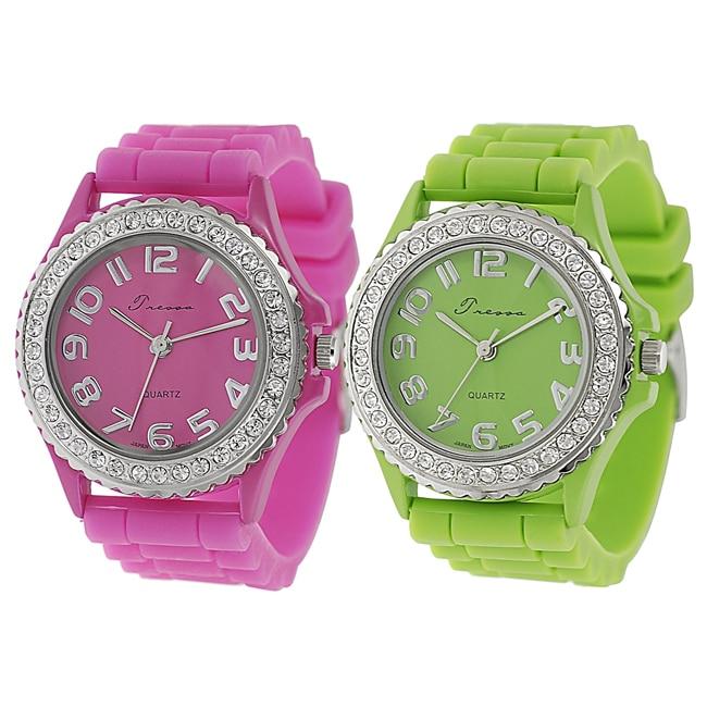 Geneva Platinum Women's Rhinestone-accented Neon Silicone Watch