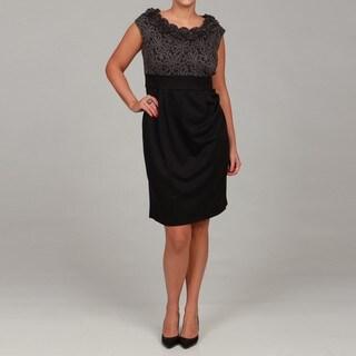London Times Women's Plus Size Ponte Sheath Dress
