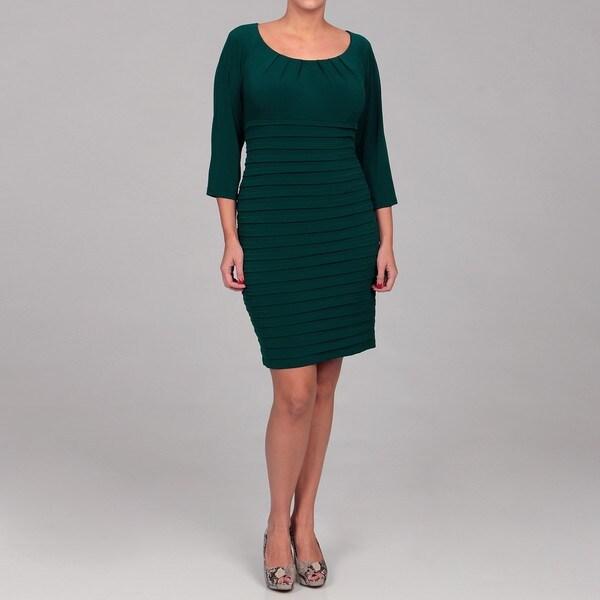 London Times Women's Plus Size Pleated Jersey Sheath Dress