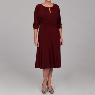 London Times Women's Plus Size Keyhole Jersey Dress