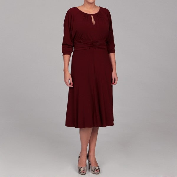 London Times Women's Plus Size Keyhole Jersey Dress