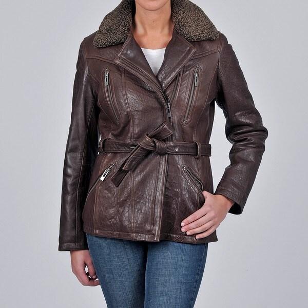 Tibor Design Women's New Zealand Lamb Leather Bubble Jacket with Asymmetrical Closure