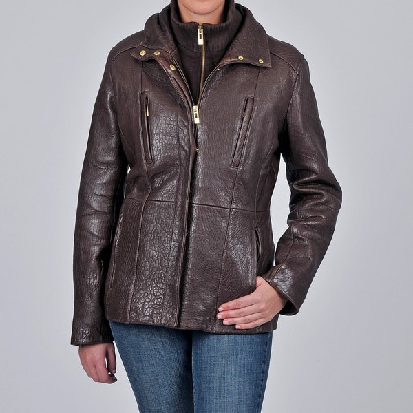 Tibor Design Women's New Zealand Lamb Leather Jacket with Removable Bib and Thermax Lining