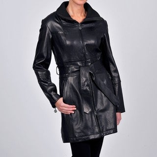 Tibor Design Women's New Zealand Lamb Leather Jacket with Convertible Funnel Knit Neck