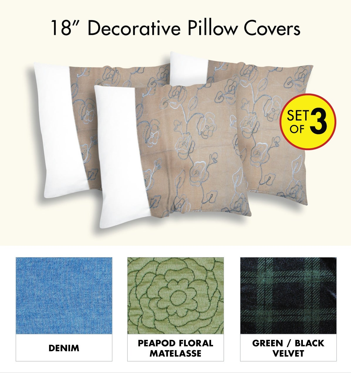 Decorative Pillow Cover with Zipper Closure (Set of 3)