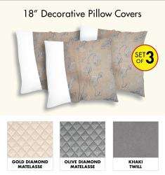 Decorative 100-Percent Polyester Pillow Cover (Set of 3)