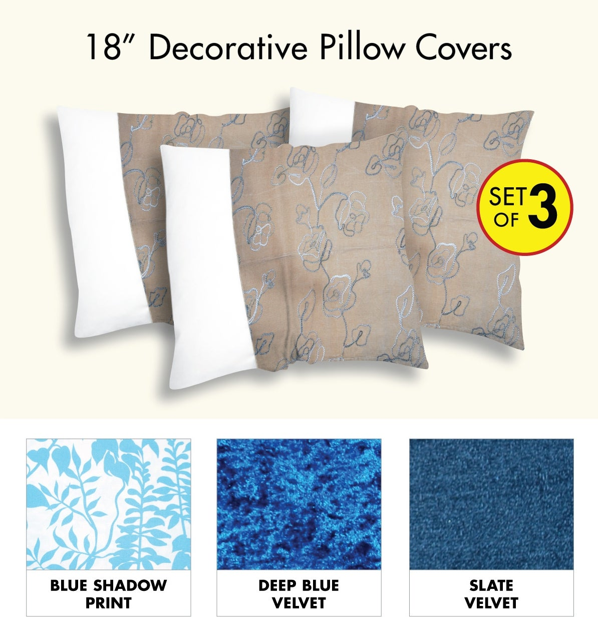 Decorative Multicolored Pillow Cover (Set of 3)