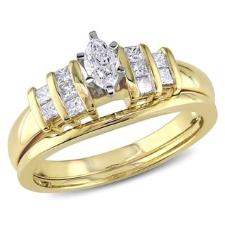 Miadora 14k Two-tone Gold 1/2ct TDW Marquise and Princess-cut Diamond Engagement Wedding Bridal Ring Set (G-H, I1-I2)