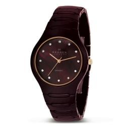 Skagen Women's Brown Ceramic MOP Dial Watch