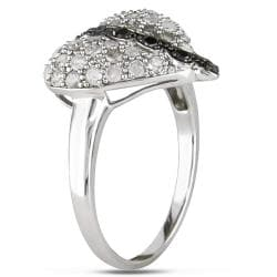 Miadora Sterling Silver 1 CT TDW Black and White Diamond Heart Ring (H-I, I3)
