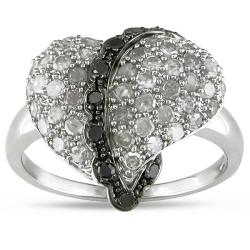 M by Miadora Sterling Silver 1 CT TDW Black and White Diamond Heart Ring (H-I, I3)