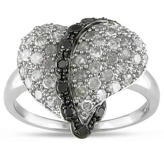 Haylee Jewels Sterling Silver 1 CT TDW Black and White Diamond Heart Ring (H-I, I3)
