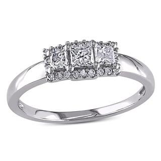 Miadora 14k White Gold 1/2ct TDW Princess-cut Diamond Ring (G-H, I1-I2)