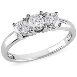 Miadora 14k White Gold 3/4ct TDW 3-stone Diamond Ring (G-H, I2-I3)