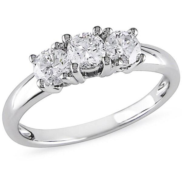 Miadora 14k White Gold 3/4ct TDW 3-stone Diamond Ring (G-H, I2-I3)