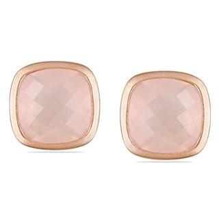 Miadora Pink Silver 21 CT TGW Cushion-cut Rose Quartz Stud Earrings with Bonus Earrings