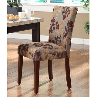 Classic Brown Tan Sage Leaf Fabric Dining Chair